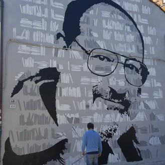 Umberto Eco Murale in via Azzogardino 3